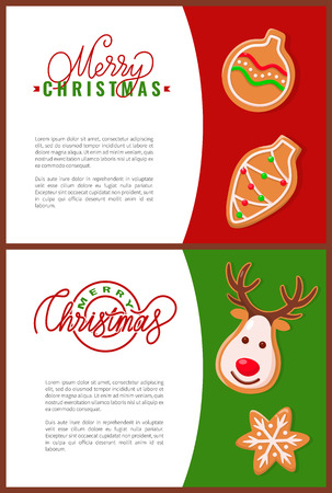Fresh gingerbread Christmas cookies, holiday treat. Stock Vector - 116328485
