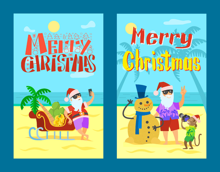 Merry Christmas, Santa Claus making photo, snowman of sand and selfie near sleigh with grapes and bananas. Standard-Bild - 116328482