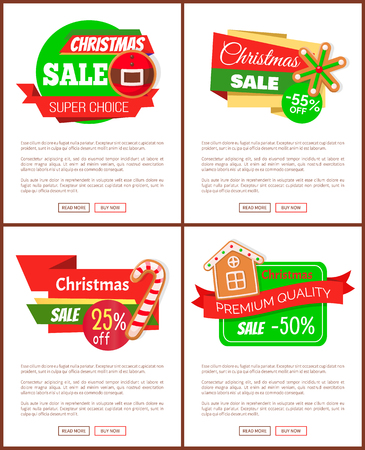 Set of Christmas discount web icons. Sale from 25 to 55 percents and super choice. Price tags with cookies of house and candy, snowflake and belt vector Illustration