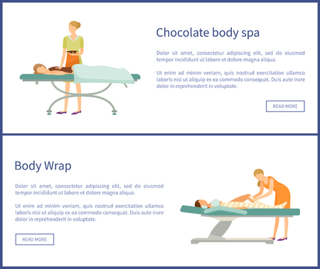 Body chocolate spa and wrap of legs, women lying on table and relaxing. Stok Fotoğraf - 116328484