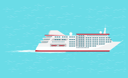 Water transport traveling vessel big comfortable cruise liner for lots of people vector. Sea or ocean trip performed by cozy ship. Travelers safety