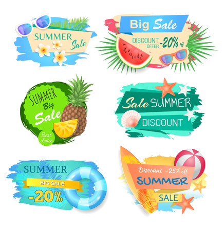 Big sale and summertime offer banners set vector.