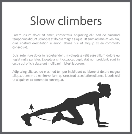 Slow climbers poster headline tabata exercise and text sample with fitness information banner frame vector illustration isolated on white background black on white