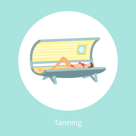 Tanning poster woman lying in indoors tan case and sunbathing under radioactive ultraviolet rays.