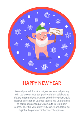Happy New Year poster, pig in Santa costume, zodiac symbolic animal.