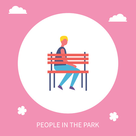 Boy sitting on bench alone in park cartoon banner isolated vector character. Guy in casual clothes having rest on seat, lonely young man outdoors