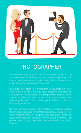 Photographer making photos of popular movie stars or singers on red carpet. 版權商用圖片 - 116328488