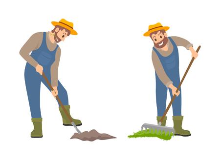 Les agriculteurs sur le vecteur de jeu de terres. Ensemble d'icônes isolées, personne avec une pelle cultivant des terres et homme avec un râteau répandant du compost sur le sol. Travaux agricoles