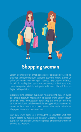 Shopping woman female lady walking with bags and handbag on shoulder vector.
