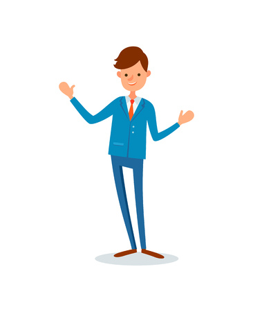 Man greeting waving hand to say hello welcome vector in flat style. Man executive chief wearing formal suit with tie. Leader, boss of company business Illustration