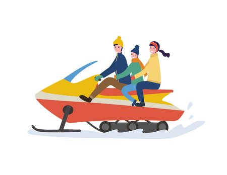 Cheerful driving dad sitting together with mum and son in warm clothes. Family winter riding on snowmobile, vector image in flat style isolated on white