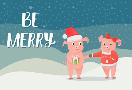 Be merry poster, piglet symbol of New Year with gift box on winter landscape with snowflakes