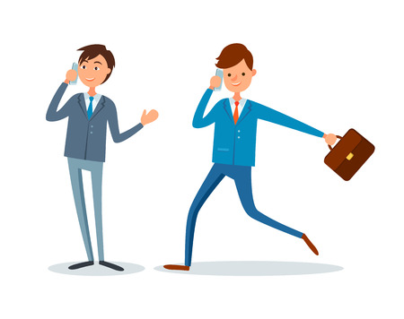 Man rushing to work, businessman talking on mobile phone vector. People making business calls to partner and clients. Director and manager busy at job Иллюстрация