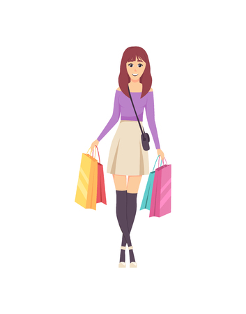 Female lady walking with bags and handbag on shoulder vector. Shopper with bought items, happy woman shopping day and purchases placed in containers Banque d'images - 125730363
