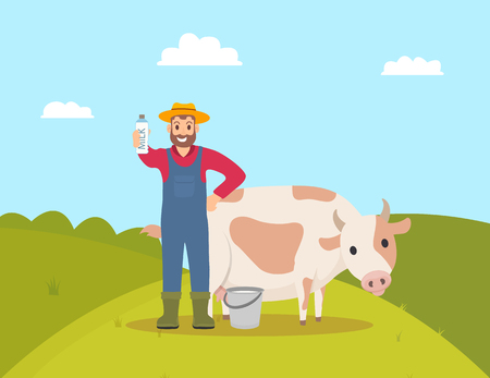 Farmer with milk package dairy product in hand vector. Farming person with animal cow, livestock tending for cattle. Hill and bushes, sky with clouds