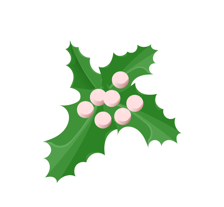 Mistletoe traditional Christmas design ornament of green leaves and berries. Single holiday celebration symbol, realistic style isolated on white vector