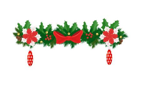 Elemento decorativo di Natale, rami di abete decorati da fiori di poinsettia, giocattoli di vetro a forma di cono, bacche di vischio rosso e icona isolata vettore di abete rosso Vettoriali