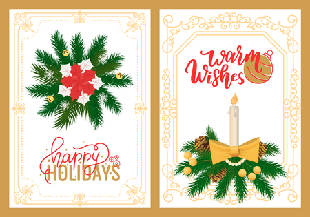Warm wishes and happy holidays greeting cards in frame, burning candle with fire, vector wreath with poinsettia, Christmas and new Year decorative postcards Иллюстрация