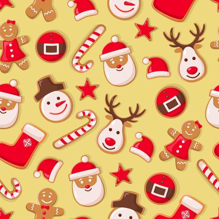 Biscotti dell'uomo di pan di zenzero e vettore senza cuciture della caramella di Babbo Natale. Simboli di Natale celebrazione delle vacanze invernali, calzino e cappello, stella e renna Vettoriali