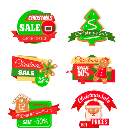 Christmas sale shopping proposition of shops market vector. Isolated set o f icons with pine tree cookie, snowflake and gingerbread man, Santa claus Ilustração