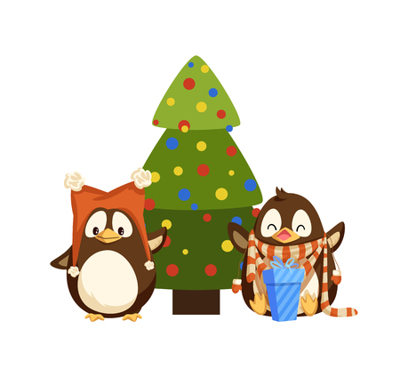 Penguins in hat with bubos and scarf with mittens near Christmas tree. Color balls and gift box, New Year present, winter holiday celebration vector