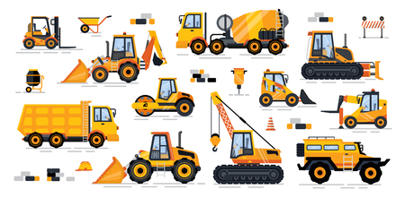 Cement mixer industrial machinery isolated icons set vector. Machines for building and construction track and loading systems excavator concrete maker
