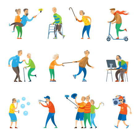 Senior people having fun together taking selfie on phone and throwing party vector. Man and woman old age of grandmother and grandfather with bubbles, flat style