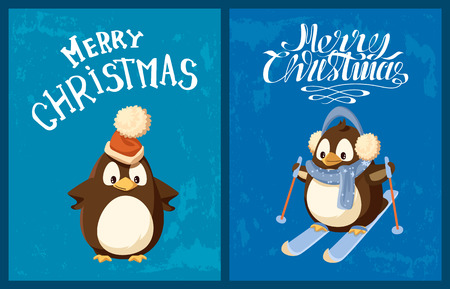 Penguin in Santa hat and earmuffs on skis greeting card. Bird in scarf and sticks, festive headdress, winter sport, Christmas and New Year holidays vector
