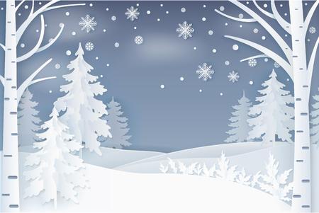 Bosque, copos de nieve y colinas en el vector de la noche. Naturaleza invernal, nieve que cae y abetos decorados con abedules en un paisaje nevado, tarjeta navideña, arte en papel y estilo artesanal