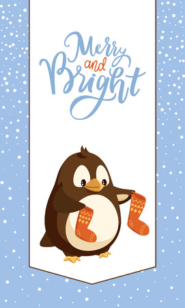 Penguin with knitted socks, Merry Christmas card. Bird and knitwear, winter holidays greeting postcard, snowflakes, Xmas stockings and animal vector