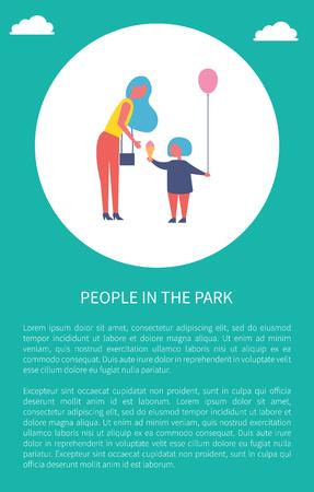 人们在公园海报妈妈和女儿在圆圈里,文字样本。带着袋子的女人为孩子买了冰激凌和氦气气球,在户外玩得开心