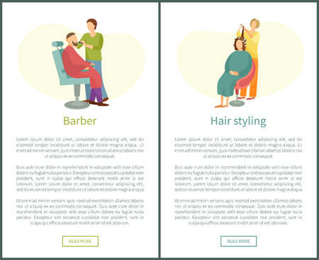 Barber shop and hair styling web posters hairdresser cutting or shaving beard and mustaches to man in armchair. Hairstyle salons with hairdressers Stockfoto - 125692439