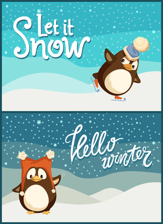 Merry Christmas hello winter let it snow posters set vector. Animal wearing warm knitted hat with fluffy cloth, snowfall weather character on snowy lands Illustration