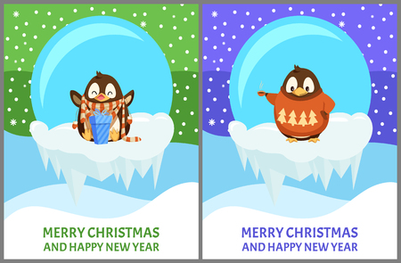 Penguin animal in sweater with pattern holding cup. Bird in scarf with gift box, ice-bowl with icicles vector. Merry Christmas and Happy New Year greeting