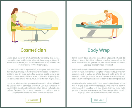 Cosmetician facial cosmetic procedures and detox body wrap web page with text. Woman cosmetologist working with clients face, beauty prof wrapping leg Ilustração