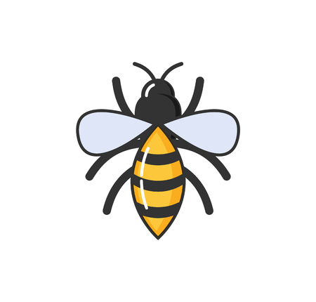 Allergy hypersensitivity of bee sting, fly with wings isolated vector. Allergic reaction wasp with striped body. Sensitivity of human body on animals