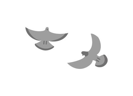 Couple grey doves isolated on white, stock vector in flat style illustration. Stylized of free volant animals emblem. Flying little birds with beaks Illustration