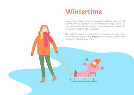 Wintertime activity pastime of mother and child vector. Kid sitting on sledges, mom pulling sleds with daughter, winter season, people in warm clothes