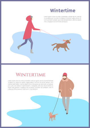 Woman with pet walking in wintertime outdoor. Girl holding dog in jacket with hat and mittens in trousers and boots. Set of charactercard with text vector