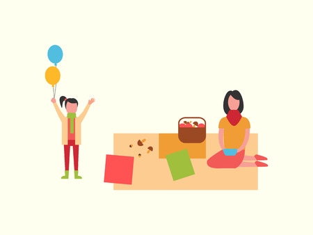 Woman on picnic sitting on blanket, child with balloons vector. Mushrooms gathered in basket, family mother and kid. Family spending time together