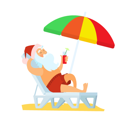 Santa Claus lying on sunbed under color umbrella vector illustration isolated. Father frost in red hat drinking refreshing cocktail at summertime, santas holidays Illustration