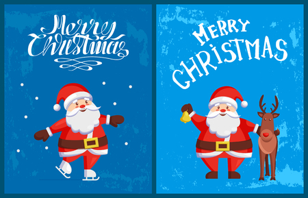 Merry Christmas greeting card and Santa Claus skating outdoors on blue backdrop. Saint Nicholas and reindeer horned animal, lettering congratulations, vector  イラスト・ベクター素材