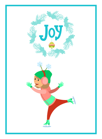 Joy poster child skating on ice rink isolated in blue frame. Girl in earmuff headphones with horns in shape of snowflakes having fun at wintertime, vector