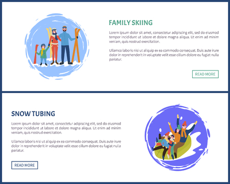Family tubing and skiing, skiers with equipment vector. Poster with text sample splashing snow, people on tube, father and mother with children web 写真素材 - 125692462