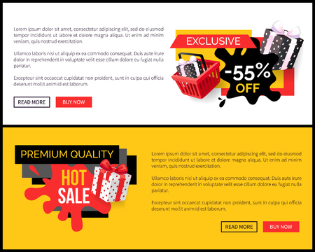 Blot and ribbons with wrapped presents gifts on landing pages, clearance and promotion, special offer adverts. Best choice 55 percent sale, vector 일러스트