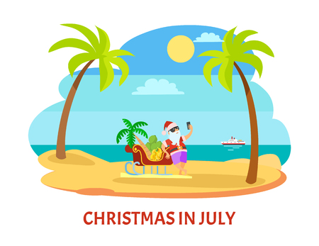Santa standing near sleigh with palm tree and banana and shooting himself in glasses and hat near ship. Summer Christmas in July with sunny weather vector