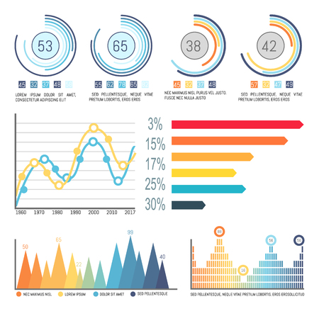Infographic and pie diagrams, curve lines visual info vector. Percentage and numeric data, statistics on graphics, flowcharts and infocharts isolated Ilustração