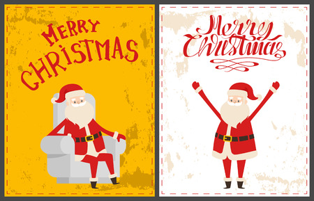 Xmas postcards, Santa Claus sitting on armchair and warm congratulations. Bearded old man Santa Claus wishes Merry Christmas and happy New Year holidays