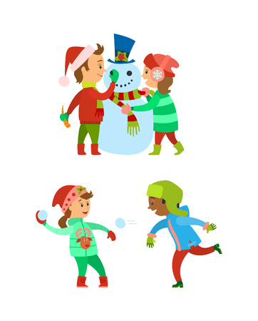 Christmas holidays, children building snowman vector. Snowball fight, winter game played by kids, wearing warm clothes. Fun of boy and girl child