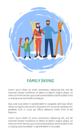 Family skiing people with equipment, winter season time vector. Game and sport parents with child, father and mother holding little kid, poster text